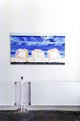 to face a modern problem / beachgirls II, 2019, Ölfarbe auf Leinwand, 80 x 140 cm