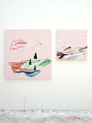 lindi, 2016, Öl- und Acrylfarbe auf Leinwand, 90 x 85 cm   55 x 55 cm