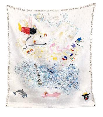 white phosphorus - day vision, 2021, Stickerei auf Tuch, 78 x 68 cm