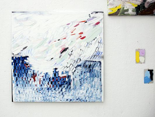softpower, 2017, Öl- und Acrylfarbe auf Leinwand, 95 x 92 cm