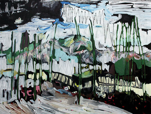 bergen, 2015, Öl- und Acrylfarbe auf Leinwand, 135 x 170 cm - Privatbesitz (oil and acrylic on canvas, 53 1/5 x 67 in., private property)