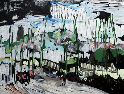 bergen, 2015, Öl- und Acrylfarbe auf Leinwand, 135 x 170 cm - Privatbesitz (oil and acrylic on canvas, 53 1/5 x 67 in., private property)