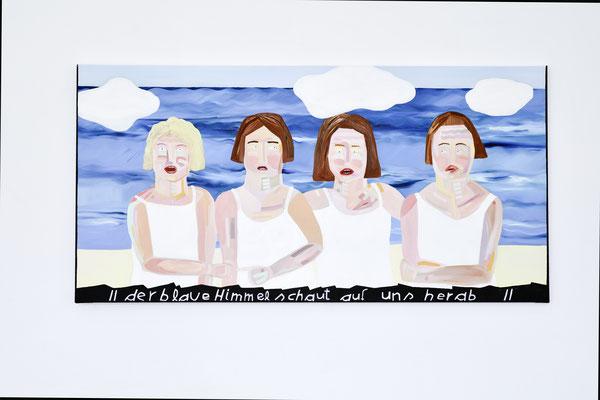 to face a modern problem / beachgirls I, 2019, Ölfarbe auf Leinwand, 80 x 160 cm