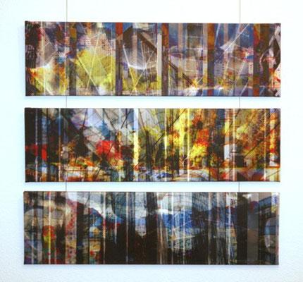untitled 2009 (3 single parts). Inkjet-Print on Canvas. Size: 27 x 95 cm