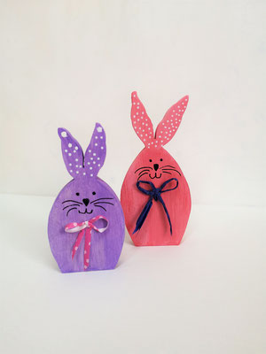 Hasenpärchen pink und lila 16x13 cm