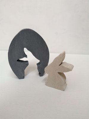 Osterei mit Hase - teilbar 11x8 cm