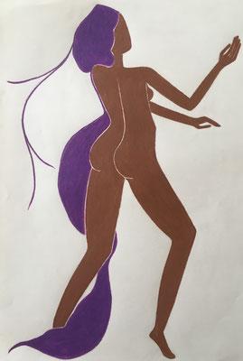 Femme de Novembre. néopastel sur papier © Saëlle Knupfer