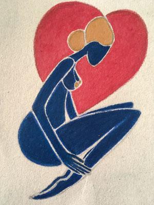 Femme Amoureuse, néopastel sur petit carton ©Saëlle Knupfer