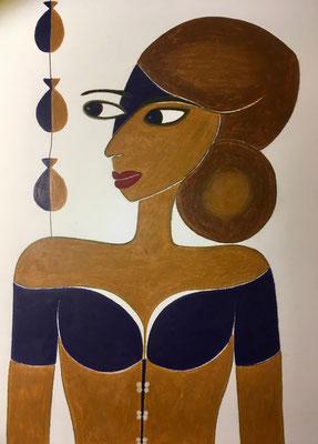 Femme aux poissons, néopastel sur carton ©Saëlle Knupfer