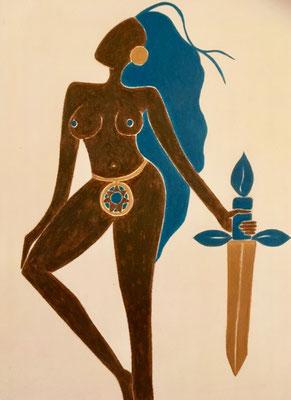 Femme d'Octobre. néopastel sur papier © Saëlle Knupfer