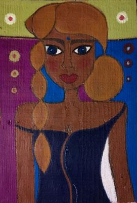 Jeune femme à la tresse, néopastel sur bois brut ©Saëlle Knupfer
