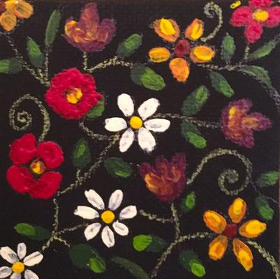 Motif floral, acryl sur toile 5x5 ©Saëlle Knupfer