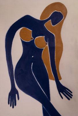 Femme Bleue de Février. néopastel sur papier © Saëlle Knupfer