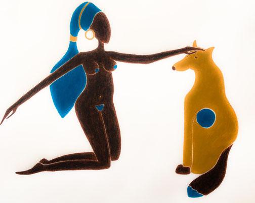 Femme d'Octobre. néopastel sur papier ©Saëlle Knupfer