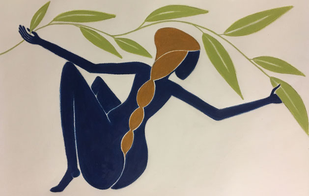 Femme d'Août. néopastel sur papier © Saëlle Knupfer