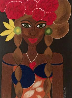 Cubaine,  néopastel sur papier© Saëlle Knupfer
