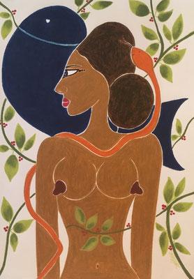 (Hors-série) Femme de Décembre. néopastel sur papier ©Saëlle Knupfer