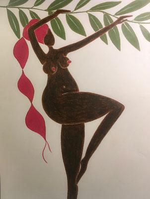 Femme de Septembre. néopastel sur papier © Saëlle Knupfer
