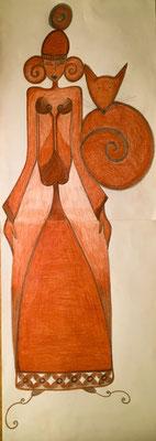 La Femme au Renard. Mine graphite et crayon sanguine sur papier. 21x60. ©Saëlle Knupfer