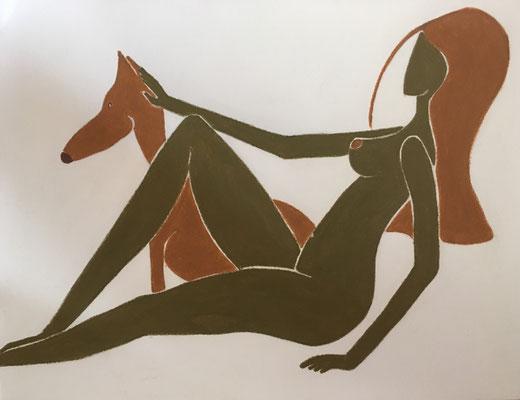 Femme de Mars. néopastel sur papier  © Saëlle Knupfer