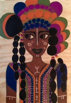 Femme Dogon, Mali. Néopastel sur bois brut © Saëlle Knupfer