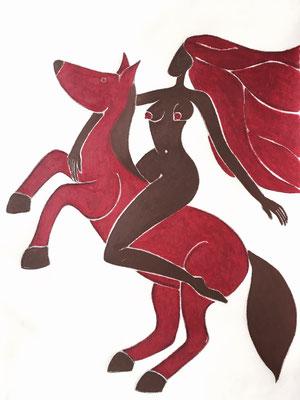 Femme de Mai. néopastel sur papier ©Saëlle Knupfer