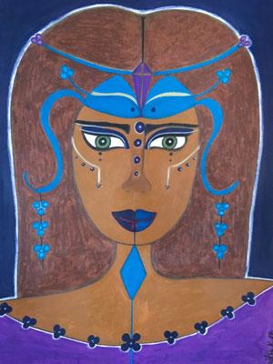 Vishuddi. Néopastel sur papier. 29,7x42 ©SaëlleK.