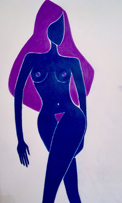 Femme de Juillet. néopastel sur papier © Saëlle Knupfer