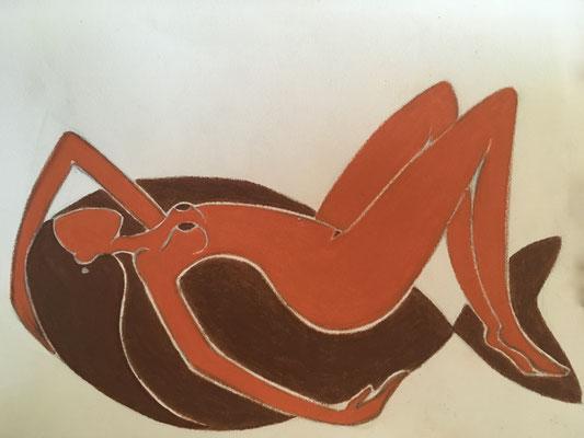Femme d'Avril. néopastel sur papier ©Saëlle Knupfer