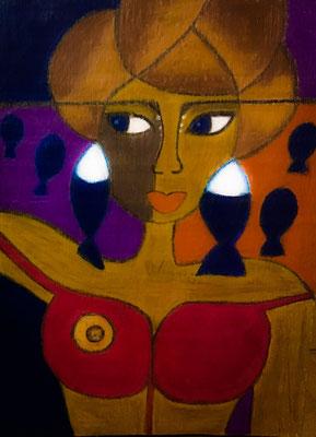 Femme au buste rouge, néopastel sur bois brut © Saëlle Knupfer