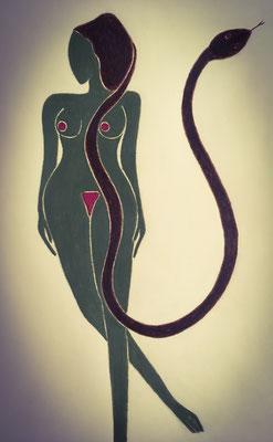 Femme de Septembre. néopastel sur papier ©Saëlle Knupfer