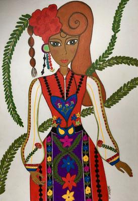 Femme bulgare. Néopastel dur papier © Saëlle Knupfer
