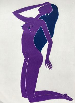 Femme de Juillet. néopastel sur papier ©Saëlle Knupfer