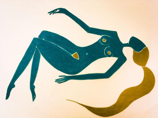 Femme Turquoise de Juin. néopastel sur papier ©Saëlle Knupfer