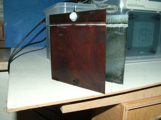 Beschichtete Kupferplatte nach dem Versuch