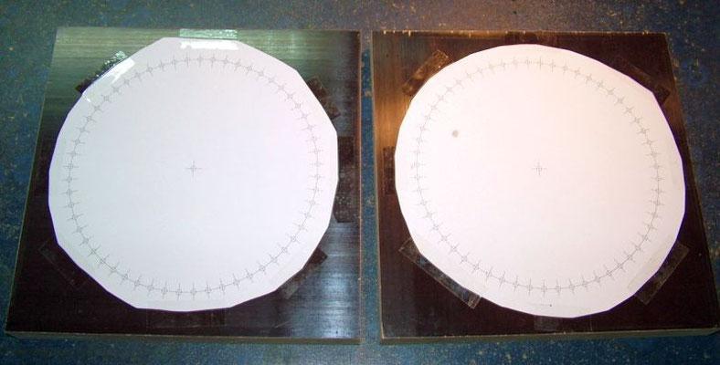 Holzplatten mit Bohrschablonen