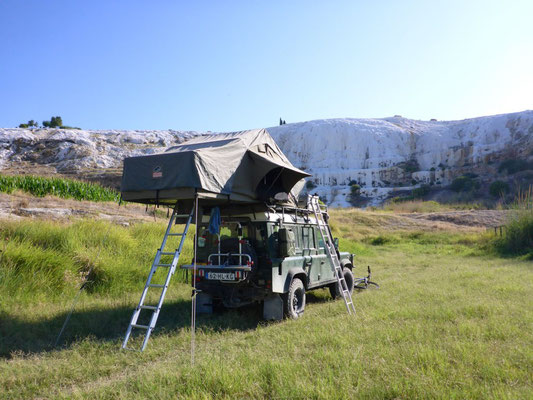 Camping in the wild with our Tembo 4x4 rooftopt tent, Pamukkale Turkey