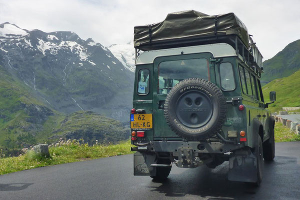 The Land Rover Defender driving the Grossglockner Hochalpenstrasse