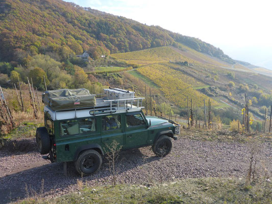 Rafiki the Land Rover Defender near the Moselle River in Germany