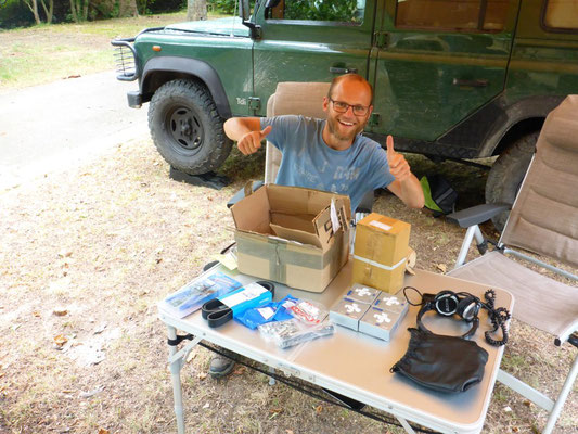 Receiving spare parts at the campsite