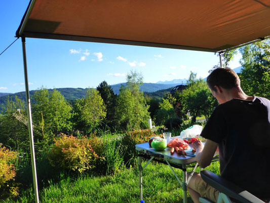 Preparing the food with the best view