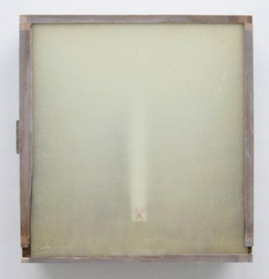 MELANCOLIA  2018  木の引き出し・紙・ガラス・蜜蝋:wooden drawer・paper・glass・wax  h. 36.8 × w. 40.5 × d. 11.2 cm