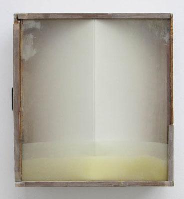 MELANCOLIA  2018  木の引き出し・紙・ガラス・蜜蝋:wooden drawer・paper・glass・wax  h. 36.7 × w. 40.3 × d. 11.4 cm