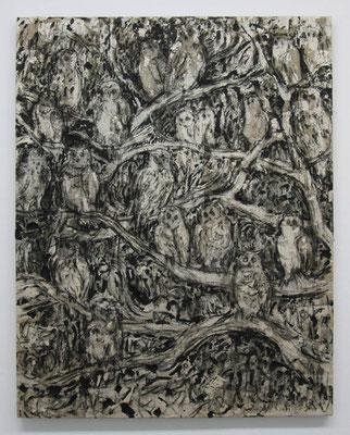 梟の木:Tree of  owls 2015 アルキド樹脂、木炭、顔料、キャンバス:alkyd resin, charcoal, pigment, on canvas 91.0 × 72.7 cm ¥ 151,200.-