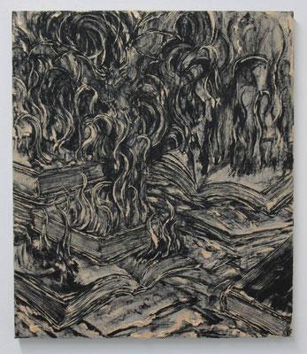静かな夜 2017 53.0 × 45.6 cm 水性アルキド樹脂、木炭、顔料、キャンバス:alkyd resin, oil, charcoal, pigment on canvas
