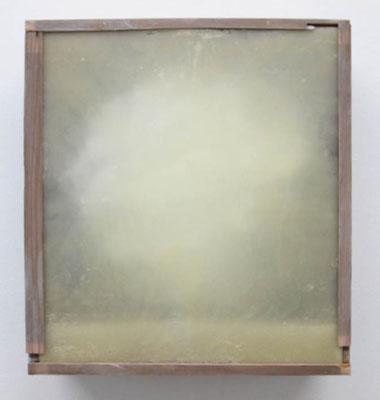 MELANCOLIA  2018  木の引き出し・紙・ガラス・蜜蝋:wooden drawer・paper・glass・wax  h. 36.7 × w. 40.5 × d. 14.0 cm