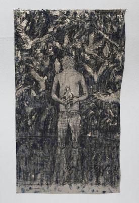 湖畔の茶会  2018  水性アルキド樹脂、油絵具、木炭、顔料、キャンバス: alkyd resin, oil, charcoal, pigment on canvas  74.6 × 45.3 cm