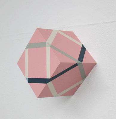 チェック キューブ:Checked Cube  2017  アクリル、寒冷紗、 MDFボード:acrylic on MDF board covered with cotton fiber  h.10.0 × w.10.5 × d.10.0 cm