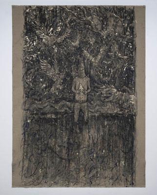 NIGHT SEA JOURNEY  2018  水性アルキド樹脂、油絵具、木炭、顔料、キャンバス: alkyd resin, oil, charcoal, pigment on canvas  220.5 × 161.4 cm