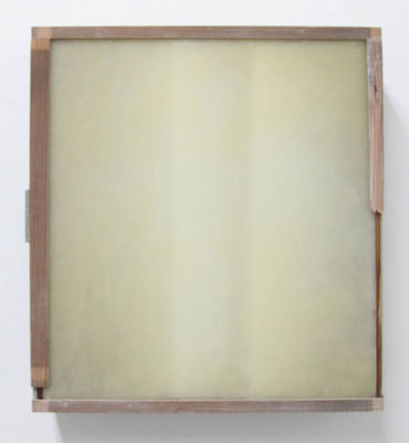 MELANCOLIA  2018  木の引き出し・紙・ガラス・蜜蝋:wooden drawer・paper・glass・wax  h. 36.6 × w. 40.6 × d. 11.0 cm